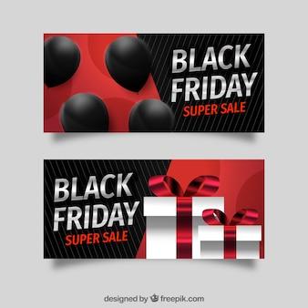 Banners de sexta feira preta com balões e caixas de presente
