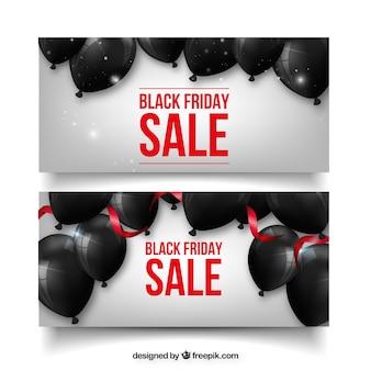 Banners de sexta-feira preta com balões negros