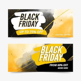 Banners de sexta-feira preta com mancha em aquarela