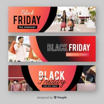 Banners de sexta-feira preto liso com foto