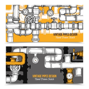 Banners de sistema de tubos de esboço