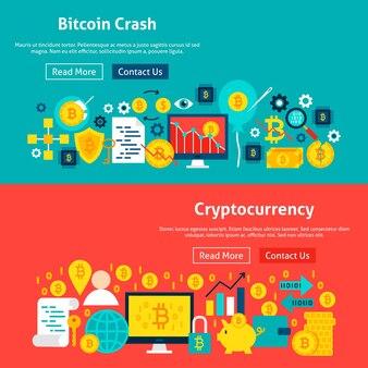 Banners de sites bitcoin. ilustração vetorial para cabeçalho da web. design plano de criptomoeda.
