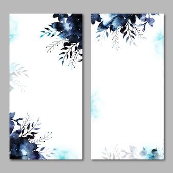 Banners de sites com elementos florais de aguarela.