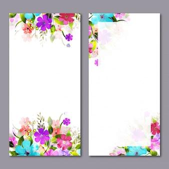 Banners de sites com flores coloridas.