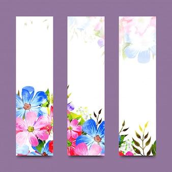 Banners de sites com flores de aguarela.