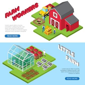 Banners de sites de pequenos negócios agrícolas rentáveis com trabalhadores rurais e informações sobre instalações agrícolas