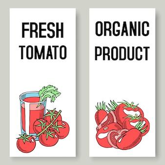 Banners de suco fresco de tomate. comida saudável.