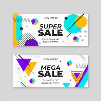 Banners de super vendas abstratos e planos