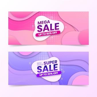 Banners de super vendas abstratos em gradiente