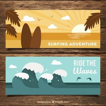 Banners de surf com paisagens de praia