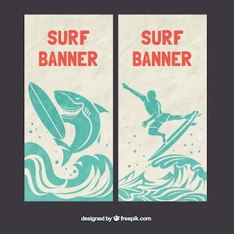 Banners de surf com um tubarão