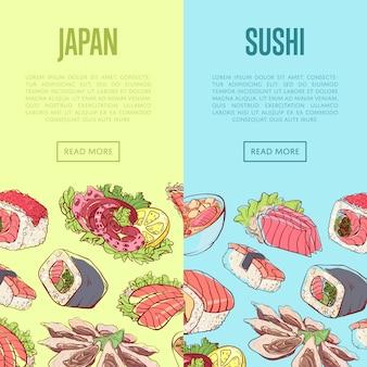 Banners de sushi japonês com pratos asiáticos