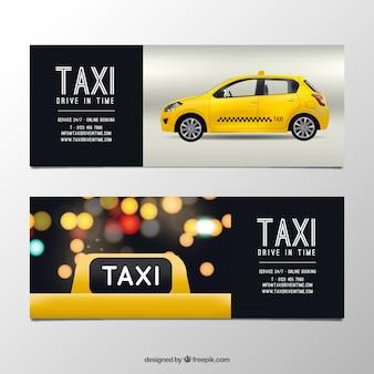 Banners de táxi realista com efeito bokeh