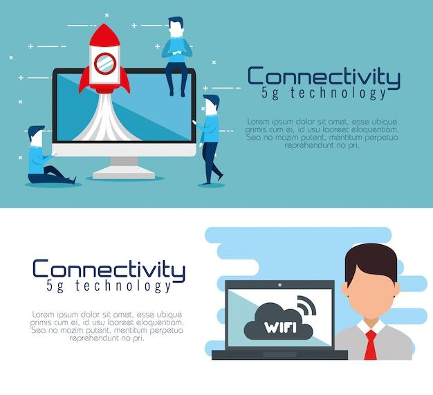 Banners de tecnologia 5g de conectividade