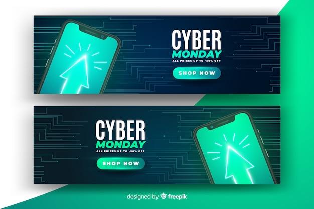 Banners de tecnologia realista segunda-feira cyber