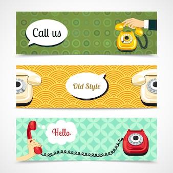Banners de telefone antigo horizontais