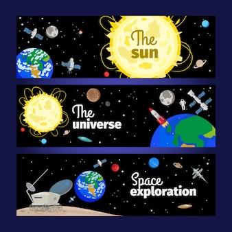 Banners de tema do espaço com planetas