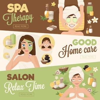 Banners de terapia de mulher de salão de beleza