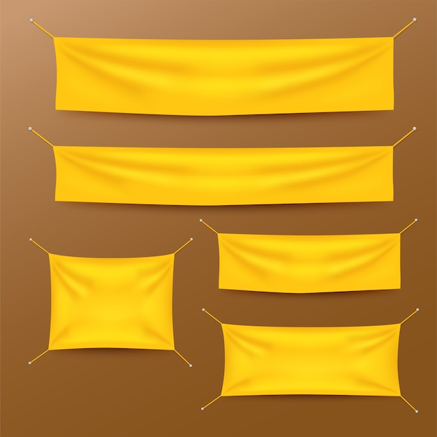 Banners de têxteis amarelos com conjunto de modelo de dobras