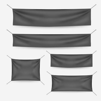 Banners de têxteis escuros com conjunto de modelo de dobras