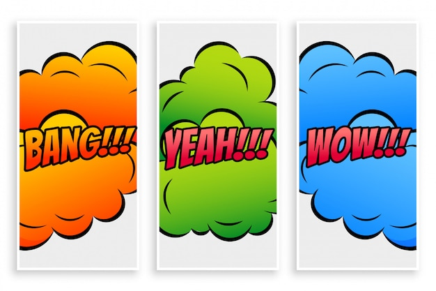 Banners de texto em quadrinhos com diferentes expressões
