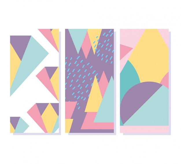 Banners de textura de estilo retro de elementos geométricos de memphis
