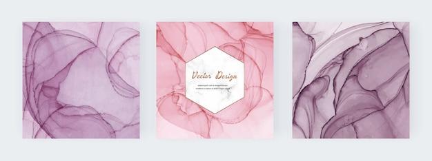 Banners de tinta álcool rosa com moldura de mármore branco geométrica.