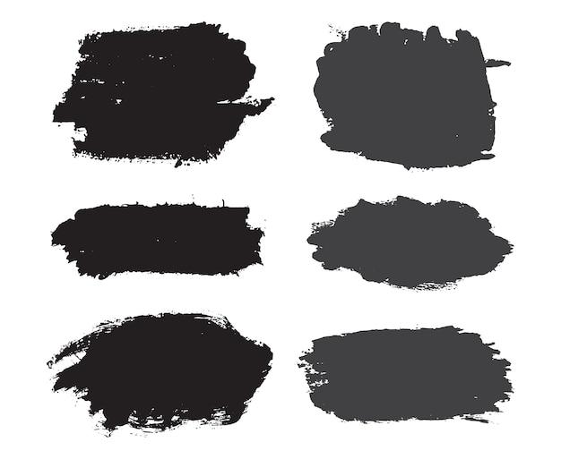 Banners de tinta preta abstrata Vetor Premium