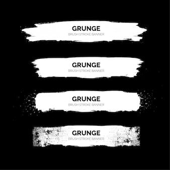 Banners de traçado de pincel branco grunge