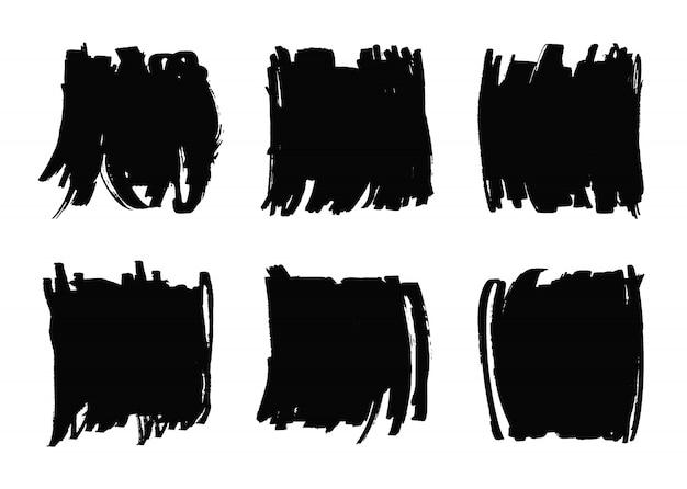 Banners de traçado de pincel preto grunge