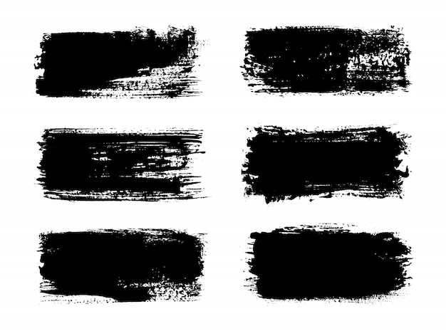 Banners de traço abstrato tinta preta