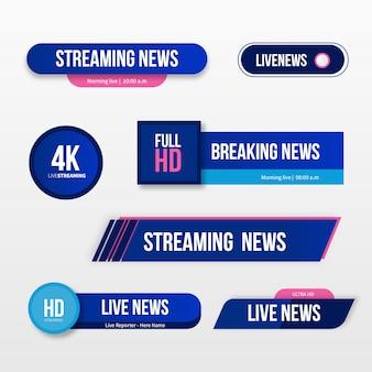 Banners de transmissões de notícias ao vivo