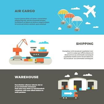 Banners de transportes de entrega de carga