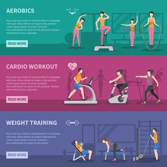 Banners de treinamento de ginástica de fitness
