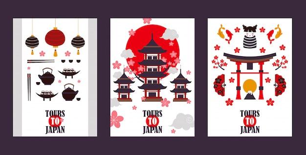 Banners de turismo no japão símbolos da cultura asiática marcos turísticos populares