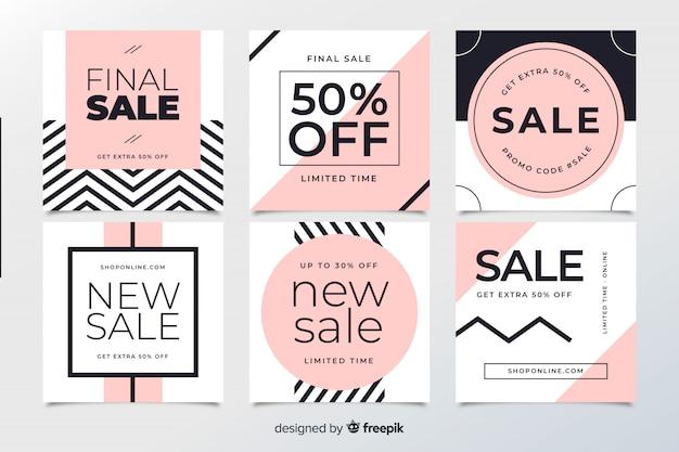 Banners de venda abstrata web para mídias sociais