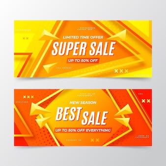 Banners de venda abstratos em gradiente com foto