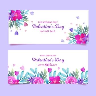 Banners de venda adorável dia dos namorados