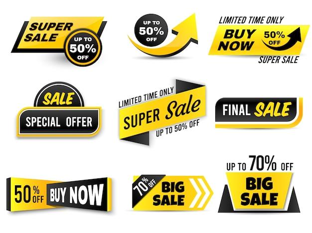 Banners de venda. banner de oferta especial, etiquetas de preço baixo e emblemas de super venda