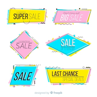 Banners de venda colorida de memphis