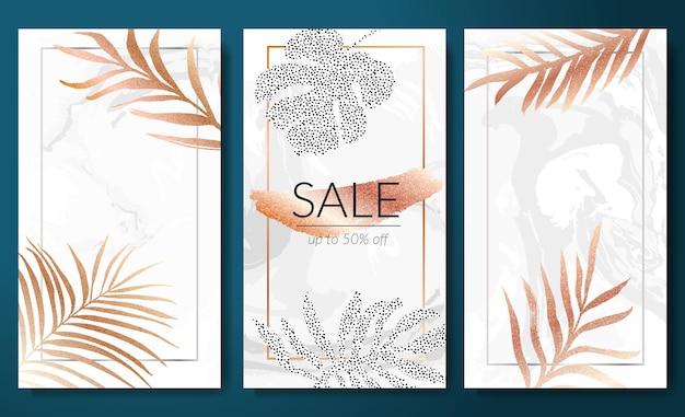 Banners de venda com modelo de histórias verticais folhas tropicais silhueta de folha dourada em mármore branco