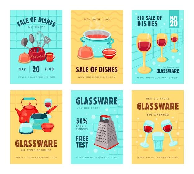 Banners de venda com utensílios de cozinha. conjunto de banners para loja ou loja com todos os tipos de pratos