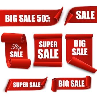 Banners de venda. conjunto de marcas de oferta.