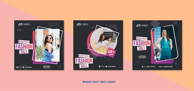 Banners de venda da black friday conjunto de banners da web de mídia social para promoção de produtos de venda de compras