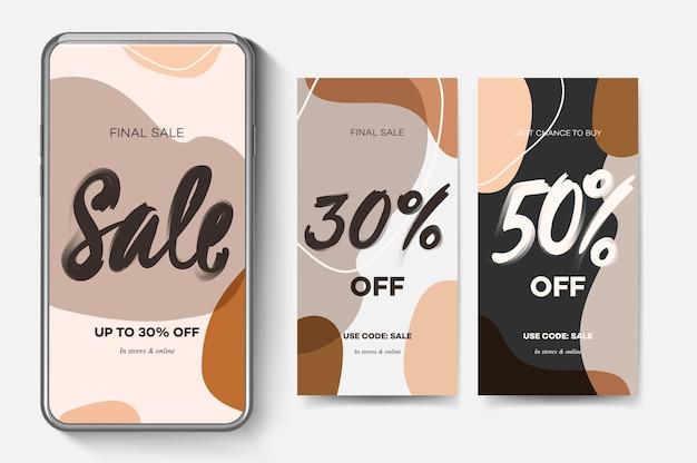 Banners de venda da web para aplicativos móveis de mídia social. fundos elegantes de promoção e desconto com padrão abstrato