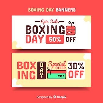Banners de venda de boxe dia plana