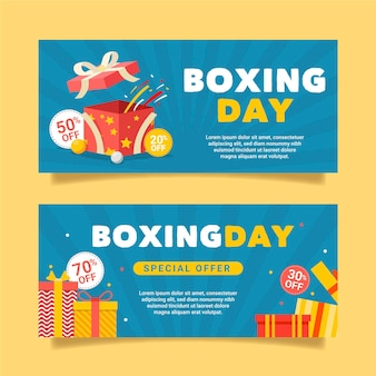 Banners de venda de boxing day em design plano