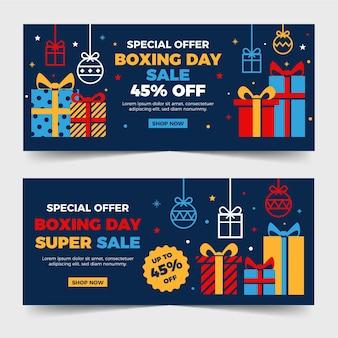 Banners de venda de boxing day em design plano