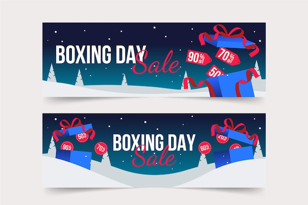 Banners de venda de boxing day