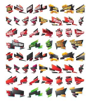 Banners de venda de desenhos animados, emblemas, adesivos, tags
